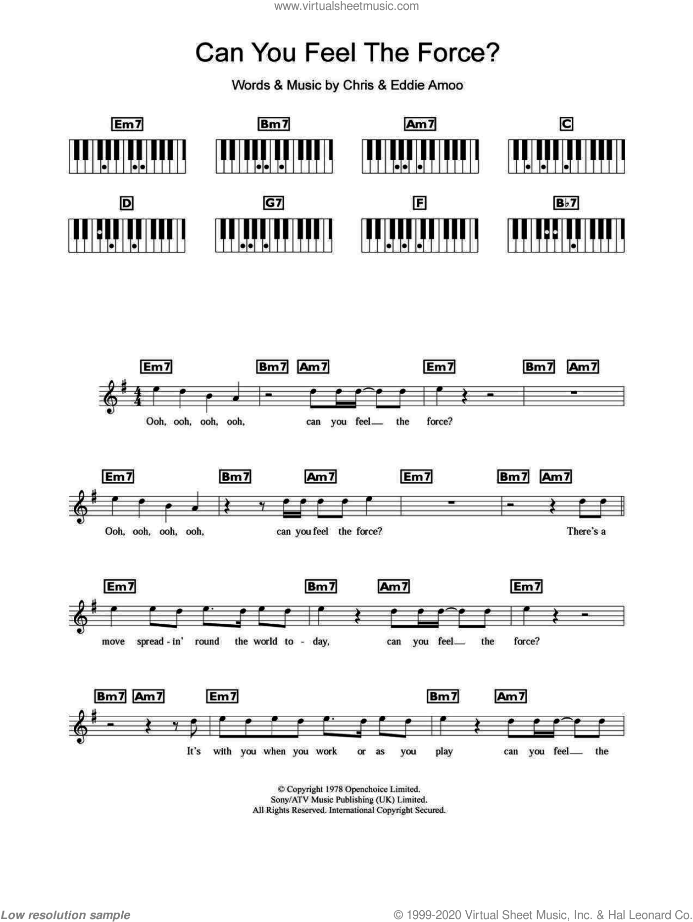 Can You Feel The Force? sheet music for piano solo (chords, lyrics, melody) by The Real Thing, Chris and Eddie Amoo, intermediate piano (chords, lyrics, melody)