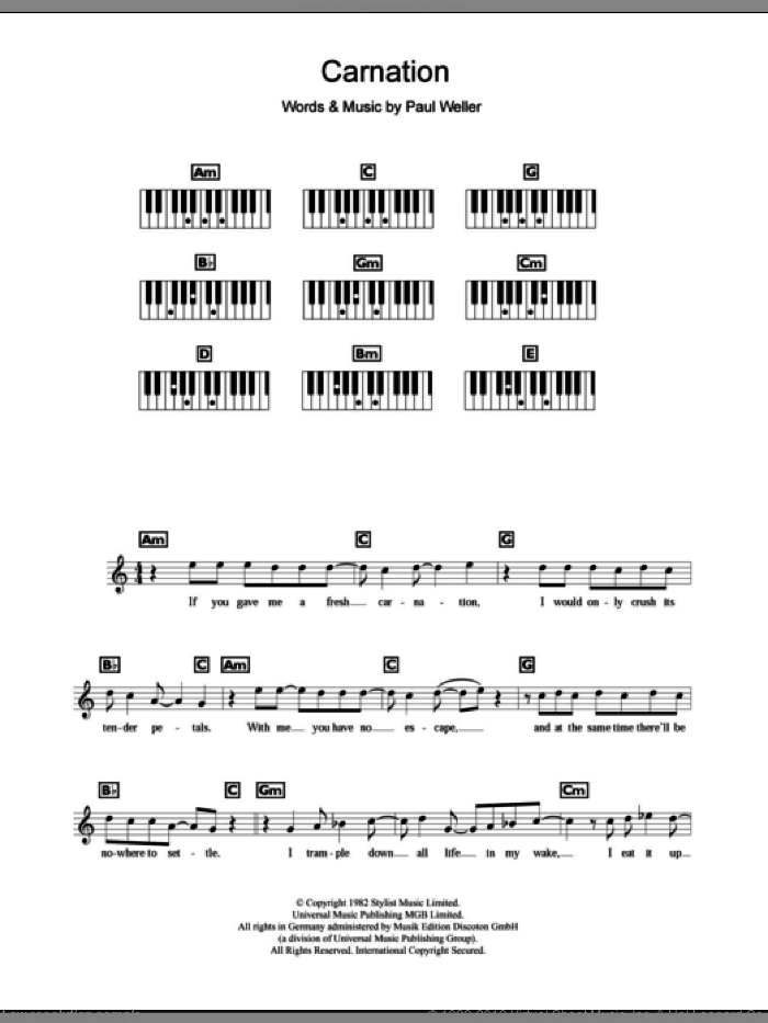 Carnation sheet music for piano solo (chords, lyrics, melody) by The Jam and Paul Weller, intermediate piano (chords, lyrics, melody)