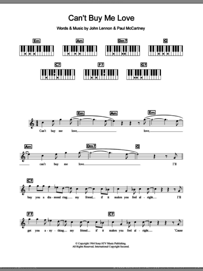 Can't Buy Me Love sheet music for piano solo (chords, lyrics, melody) by The Beatles, John Lennon and Paul McCartney, intermediate piano (chords, lyrics, melody). Score Image Preview.