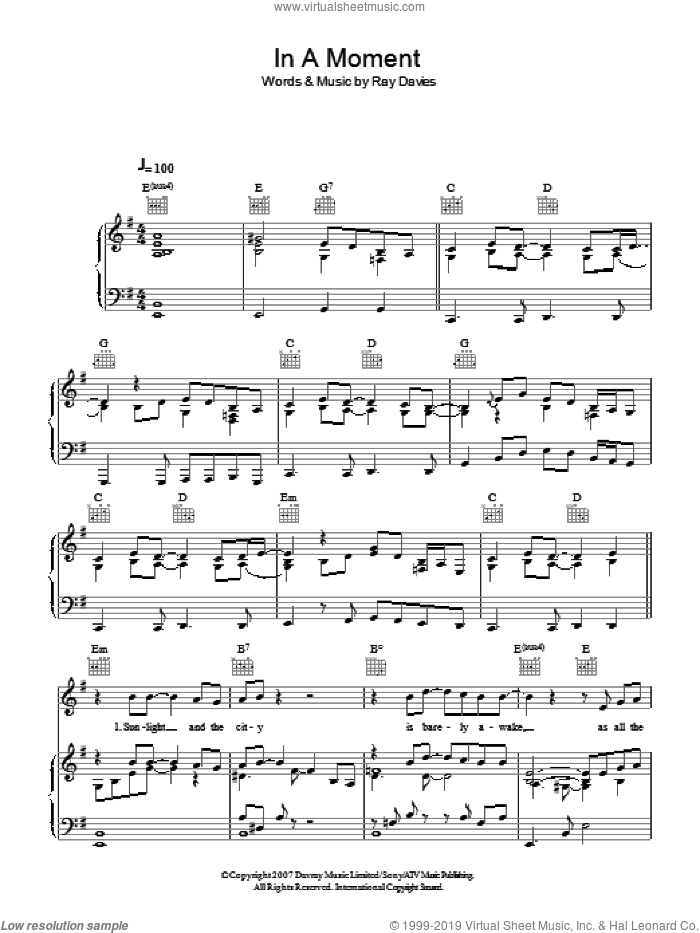 In A Moment sheet music for voice, piano or guitar by Ray Davies. Score Image Preview.