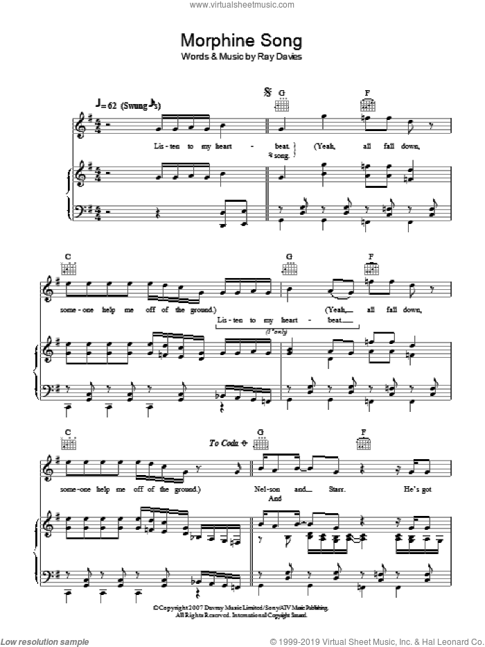 Morphine Song sheet music for voice, piano or guitar by Ray Davies, intermediate. Score Image Preview.