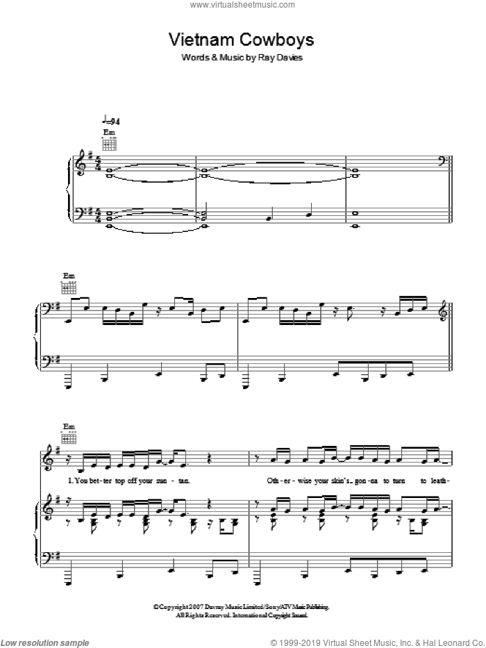 Vietnam Cowboys sheet music for voice, piano or guitar by Ray Davies, intermediate skill level
