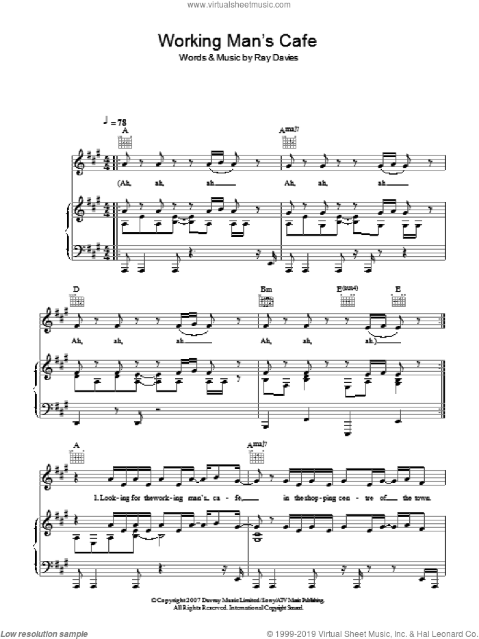 Working Man's Cafe sheet music for voice, piano or guitar by Ray Davies. Score Image Preview.