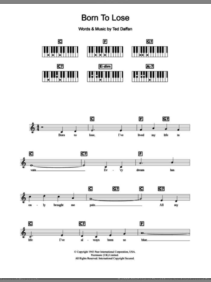 Born To Lose sheet music for piano solo (chords, lyrics, melody) by Ray Charles and Ted Daffan, intermediate piano (chords, lyrics, melody). Score Image Preview.