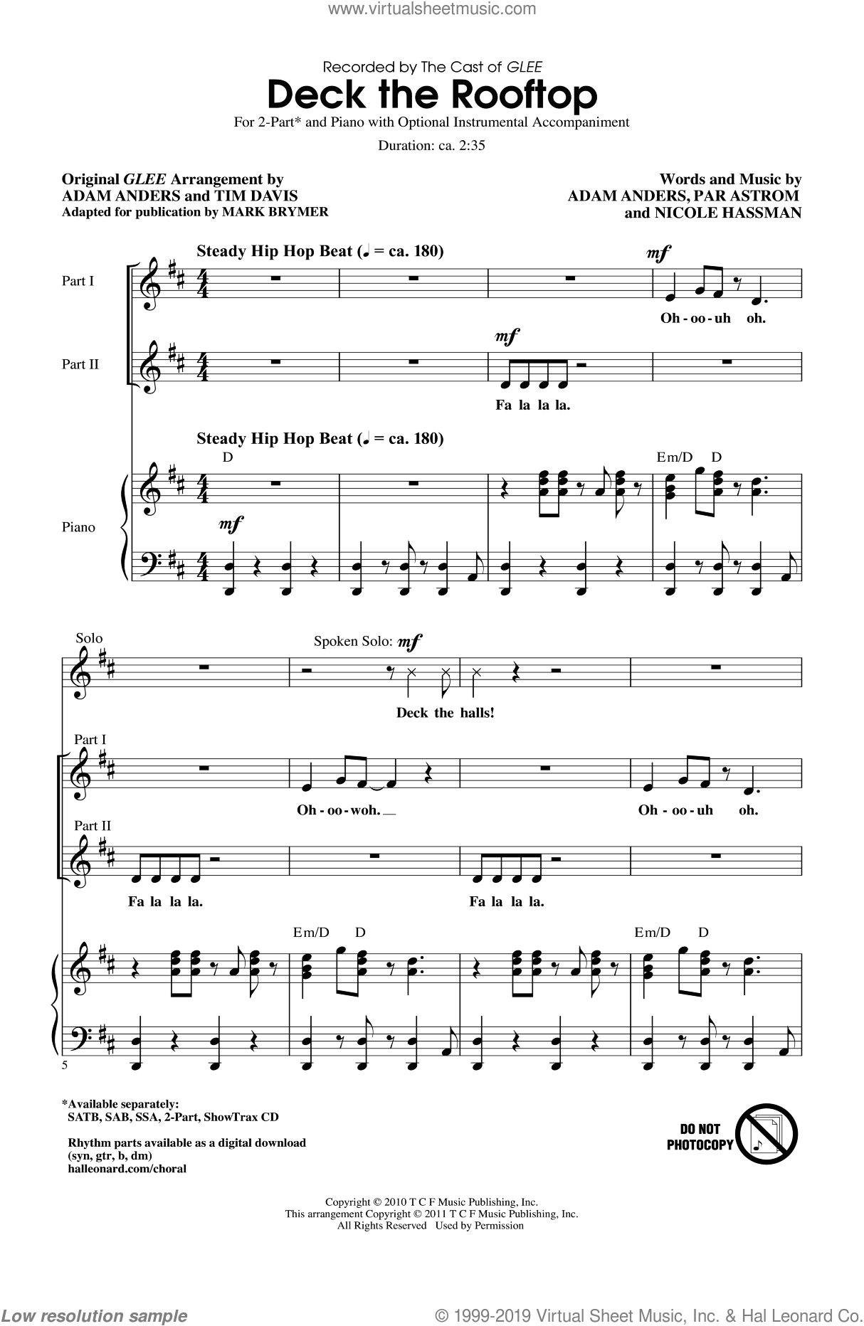 Deck The Rooftop sheet music for choir (2-Part) by Peer Astrom, Nicole Hassman, Nikki Hassman, Par Astrom, Adam Anders, Glee Cast, Mark Brymer, Miscellaneous and Tim Davis, intermediate duet