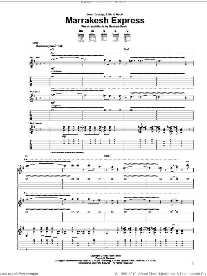 Marrakesh Express sheet music for guitar (tablature) by Graham Nash and Crosby, Stills & Nash. Score Image Preview.