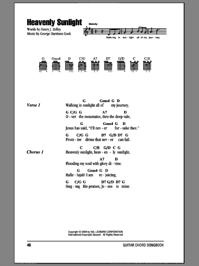 Heavenly Sunlight sheet music for guitar (chords) by Henry J. Zelley and George Harrison Cook. Score Image Preview.