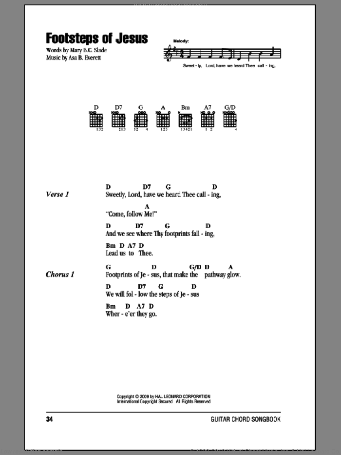 Footsteps Of Jesus sheet music for guitar (chords) by Mary B.C. Slade. Score Image Preview.