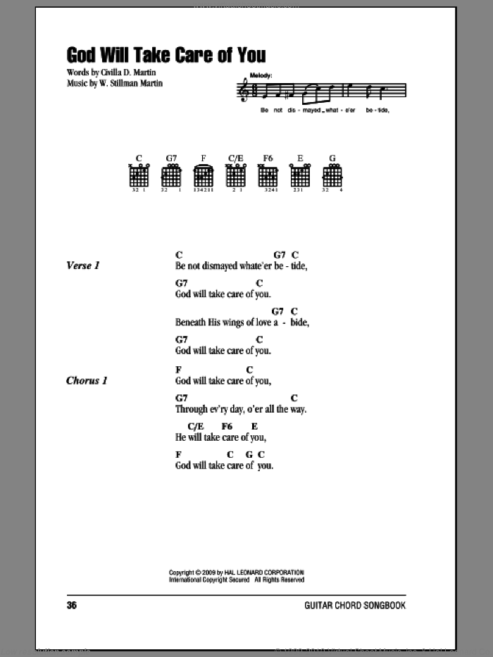 God Will Take Care Of You sheet music for guitar (chords) by Civilla D. Martin and W. Stillman Martin, intermediate skill level