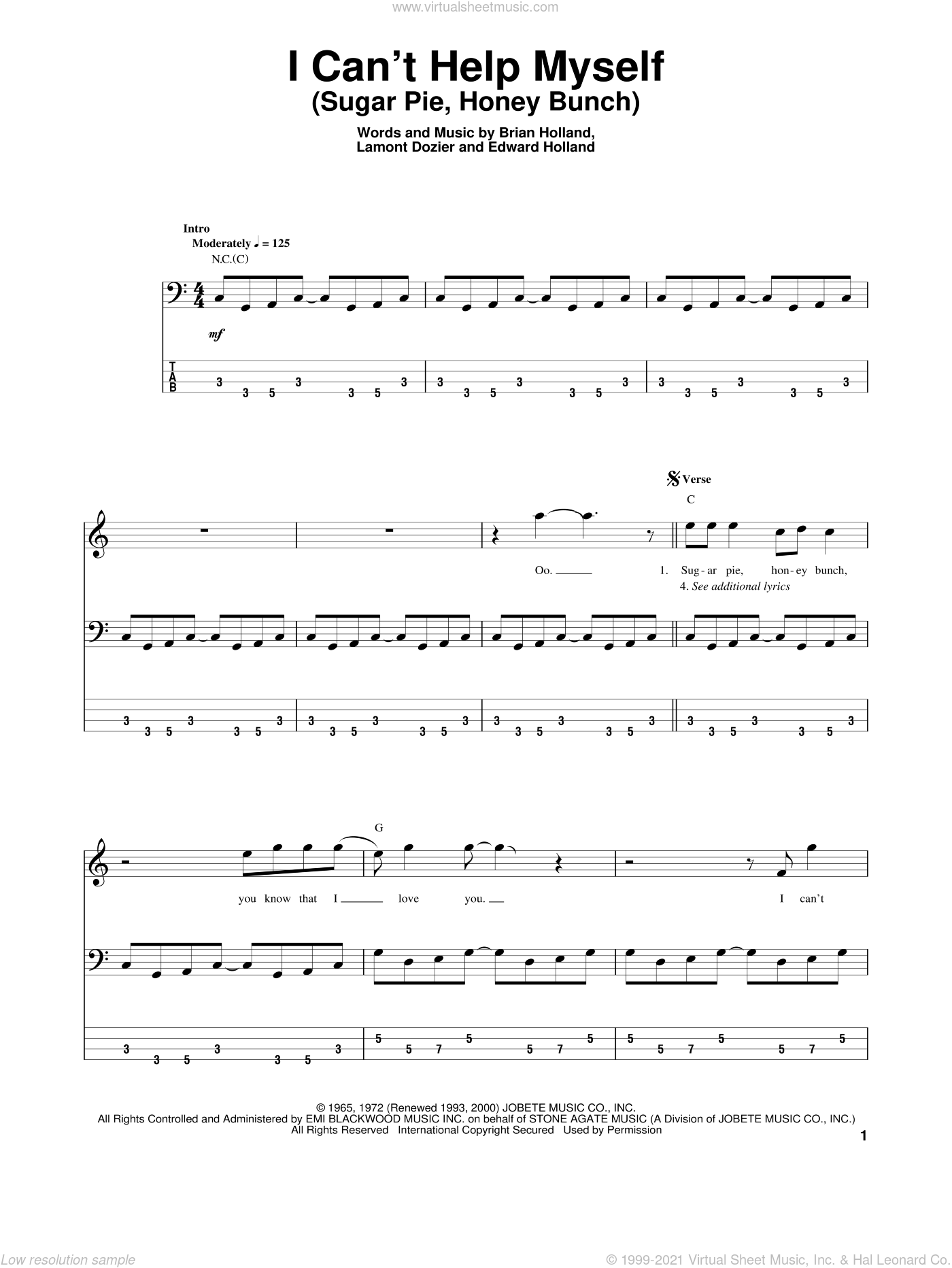 I Can't Help Myself (Sugar Pie, Honey Bunch) sheet music for bass (tablature) (bass guitar) by The Four Tops, Brian Holland, Eddie Holland and Lamont Dozier. Score Image Preview.