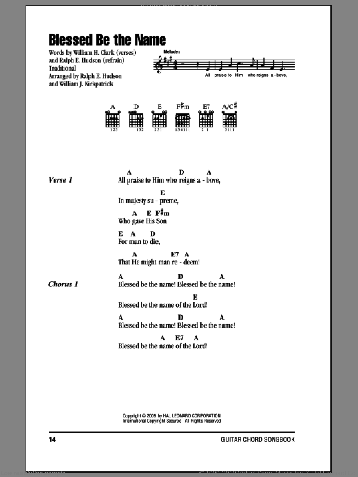 Blessed Be The Name sheet music for guitar (chords) by William H. Clark, Ralph Hudson and William J. Kirkpatrick, intermediate skill level