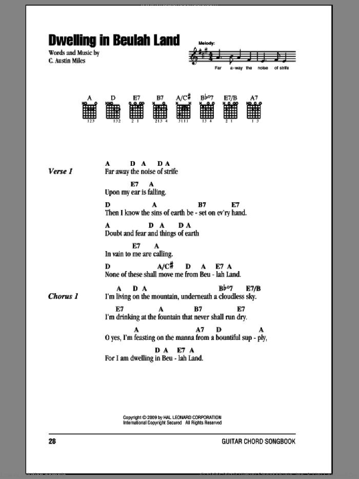 Dwelling In Beulah Land sheet music for guitar (chords) by C. Austin Miles. Score Image Preview.