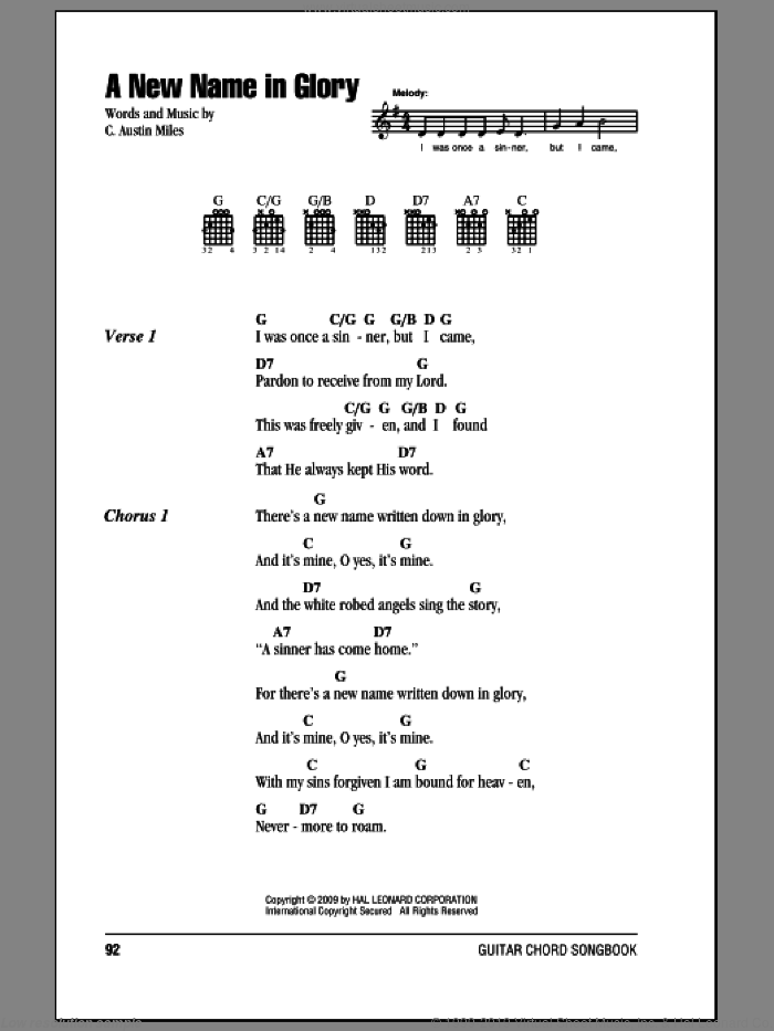 A New Name In Glory sheet music for guitar (chords, lyrics, melody) by C. Austin Miles