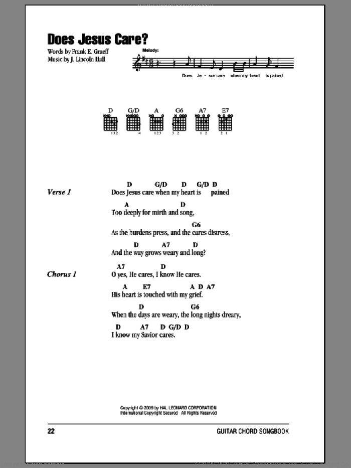 Does Jesus Care? sheet music for guitar (chords) by J. Lincoln Hall. Score Image Preview.