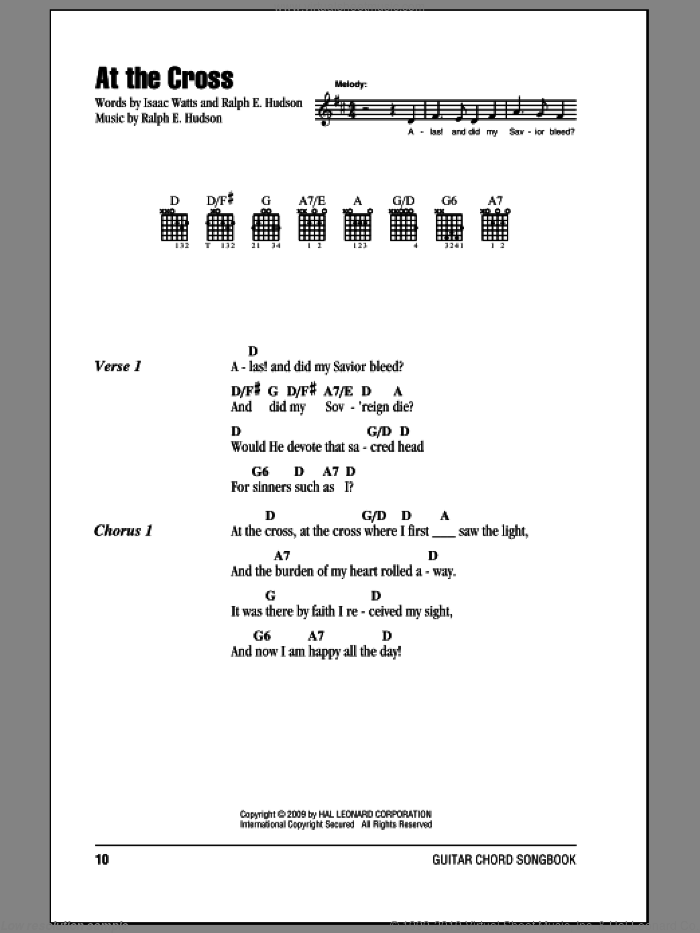 At The Cross sheet music for guitar (chords) by Ralph Hudson and Isaac Watts. Score Image Preview.