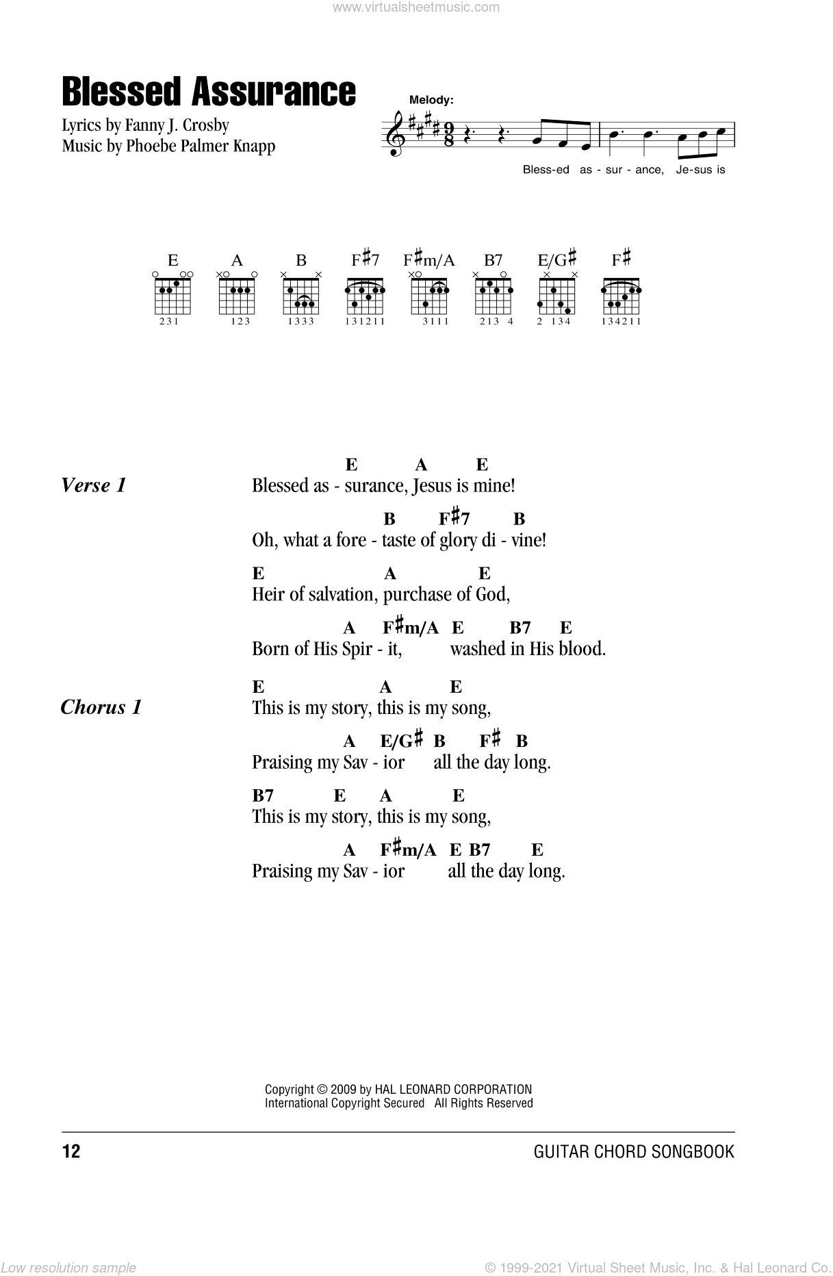 Crosby - Blessed Assurance sheet music for guitar (chords) [PDF]