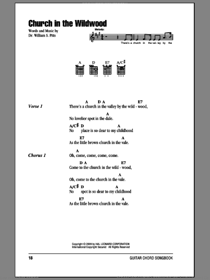 Church In The Wildwood sheet music for guitar (chords) by Dr. William S. Pitts. Score Image Preview.