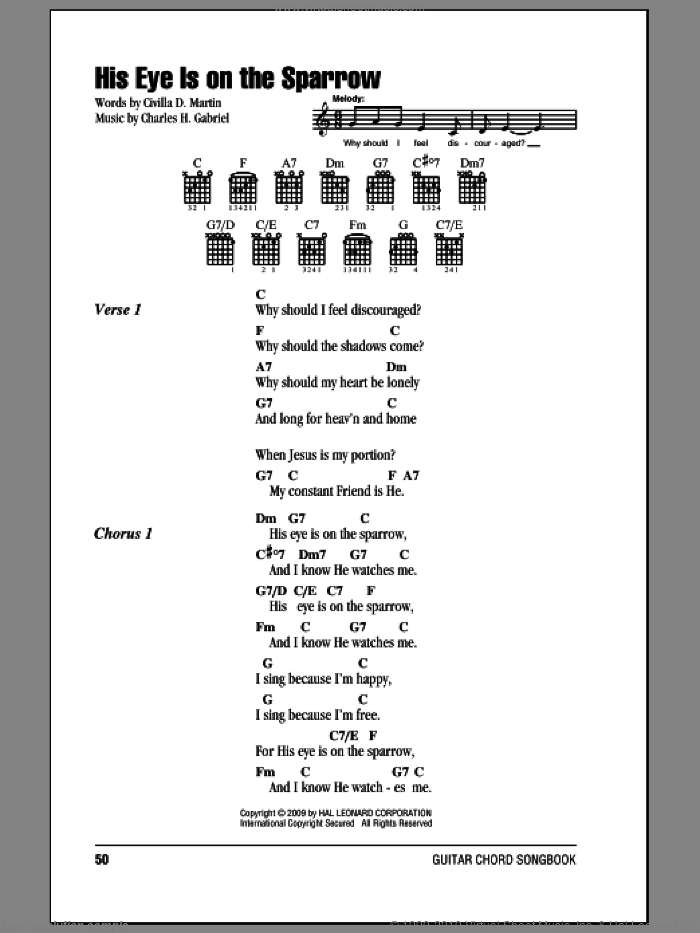 His Eye Is On The Sparrow sheet music for guitar (chords) by Mahalia Jackson, Charles H. Gabriel and Civilla D. Martin, intermediate