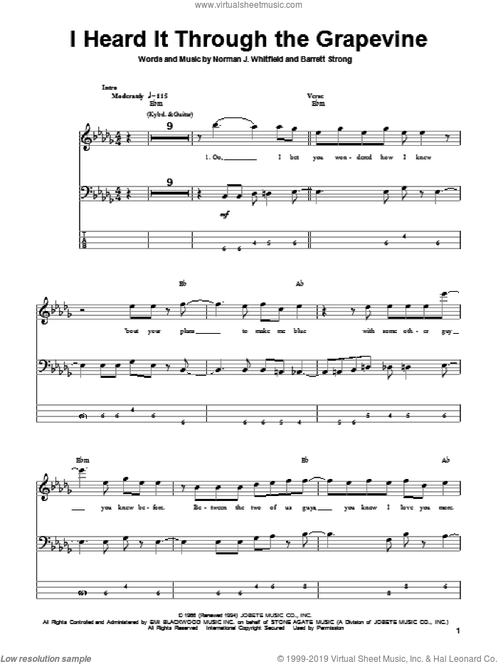 I Heard It Through The Grapevine sheet music for bass (tablature) (bass guitar) by Norman Whitfield, Marvin Gaye, Michael McDonald and Barrett Strong. Score Image Preview.