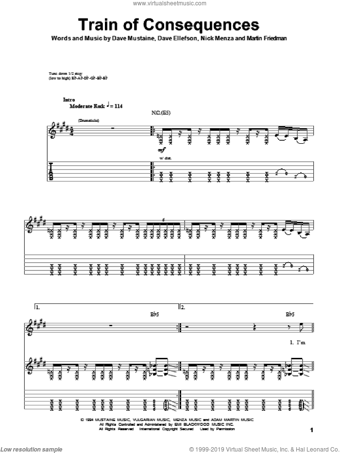 Train Of Consequences sheet music for guitar (tablature, play-along) by Nick Menza