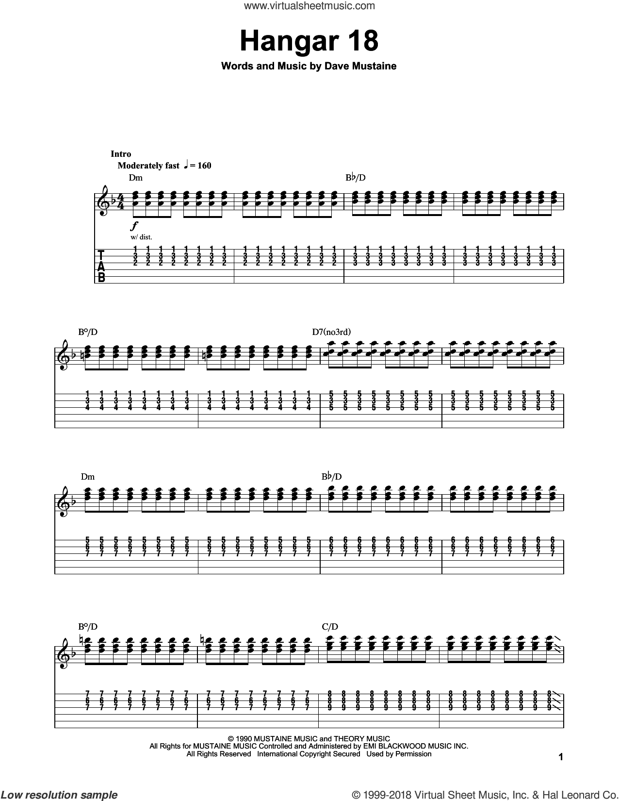 Hangar 18 sheet music for guitar (tablature, play-along) by Dave Mustaine and Megadeth. Score Image Preview.