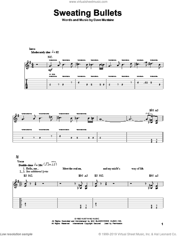 Sweating Bullets sheet music for guitar (tablature, play-along) by Megadeth and Dave Mustaine, intermediate. Score Image Preview.