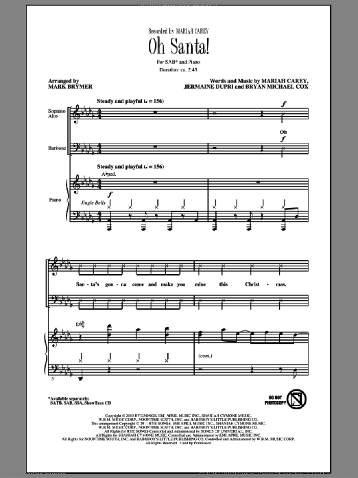 Oh Santa! sheet music for choir (SAB: soprano, alto, bass) by Mariah Carey, Bryan Michael Cox, Jermaine Dupri and Mark Brymer, intermediate skill level