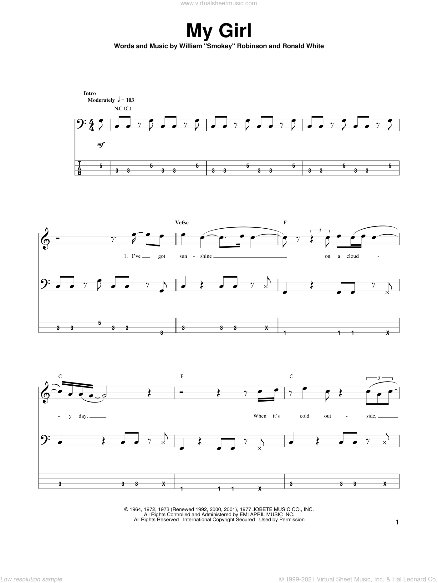 My Girl sheet music for bass (tablature) (bass guitar) by The Temptations, intermediate. Score Image Preview.