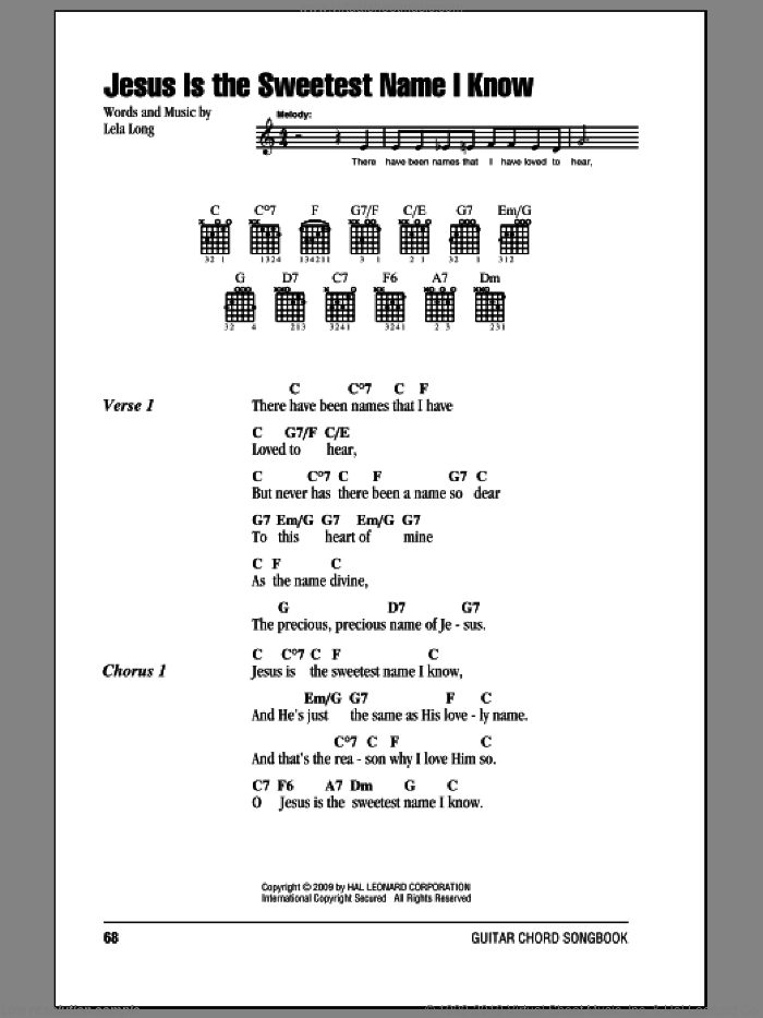 Jesus Is The Sweetest Name I Know sheet music for guitar (chords, lyrics, melody) by Lela Long
