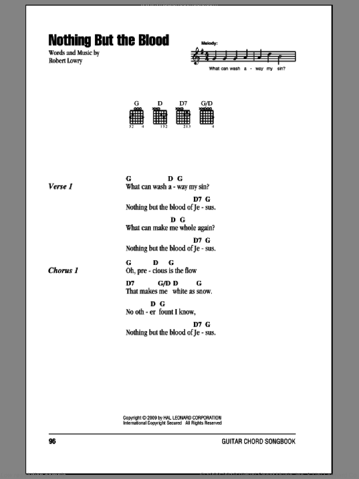 Nothing But The Blood sheet music for guitar (chords, lyrics, melody) by Robert Lowry
