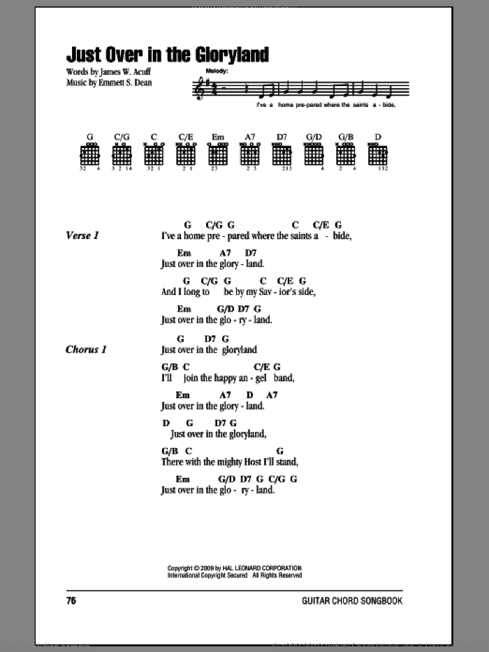 Just Over In The Gloryland sheet music for guitar (chords, lyrics, melody) by Emmett S. Dean