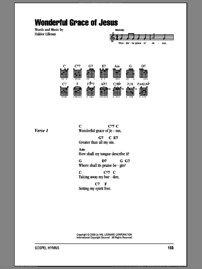Wonderful Grace Of Jesus sheet music for guitar (chords) by Haldor Lillenas. Score Image Preview.