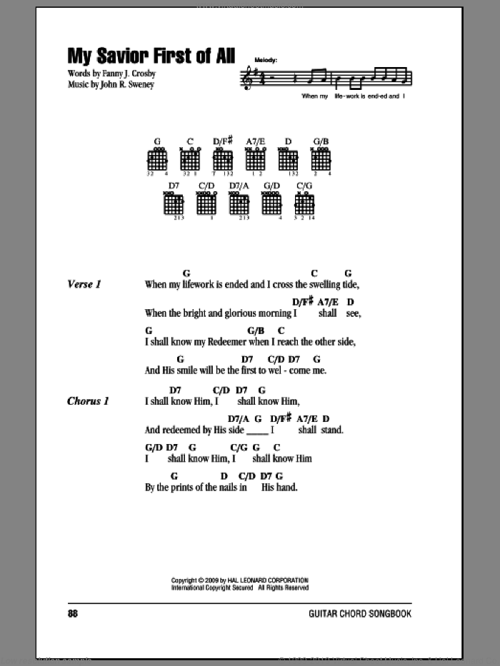 My Savior First Of All sheet music for guitar (chords) by Fanny J. Crosby, intermediate. Score Image Preview.