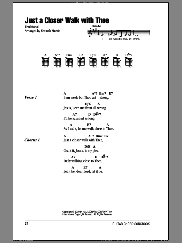 Just A Closer Walk With Thee sheet music for guitar (chords) by Kenneth Morris, intermediate. Score Image Preview.