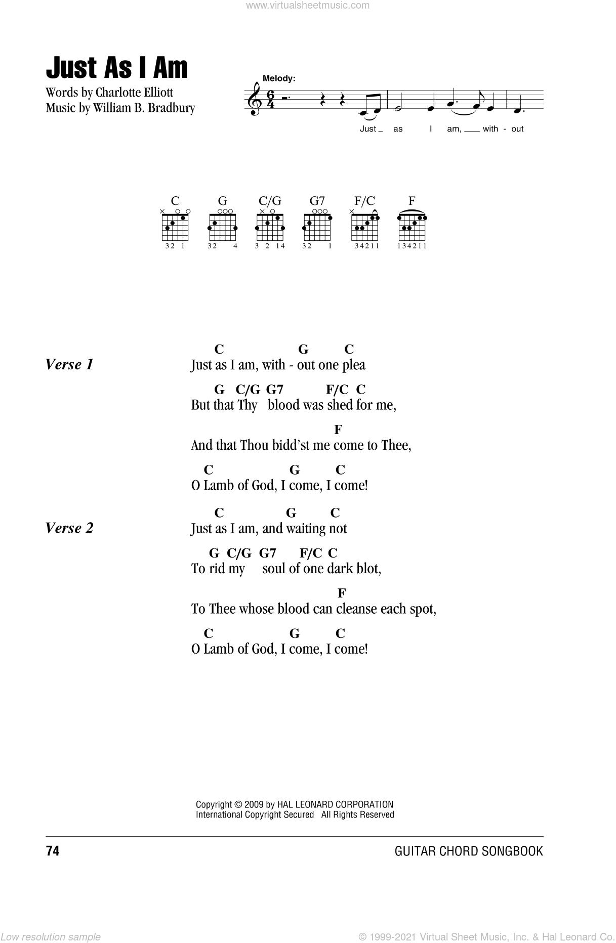 Just As I Am sheet music for guitar (chords) by Charlotte Elliott and William B. Bradbury, intermediate skill level
