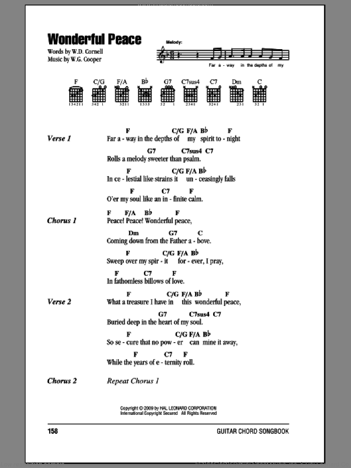 Wonderful Peace sheet music for guitar (chords) by W.G. Cooper. Score Image Preview.