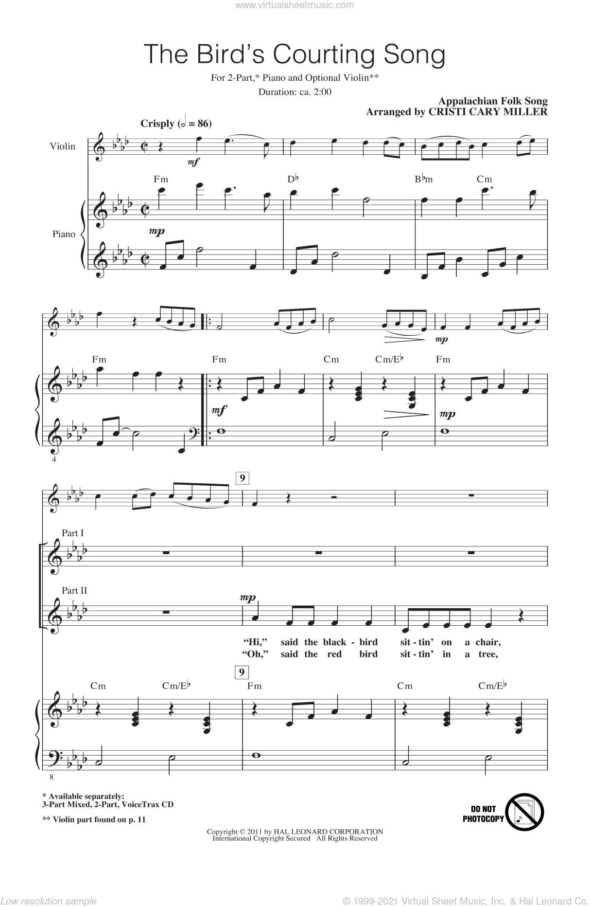The Bird's Courting Song sheet music for choir and piano (duets) by Appalachian Folk Song