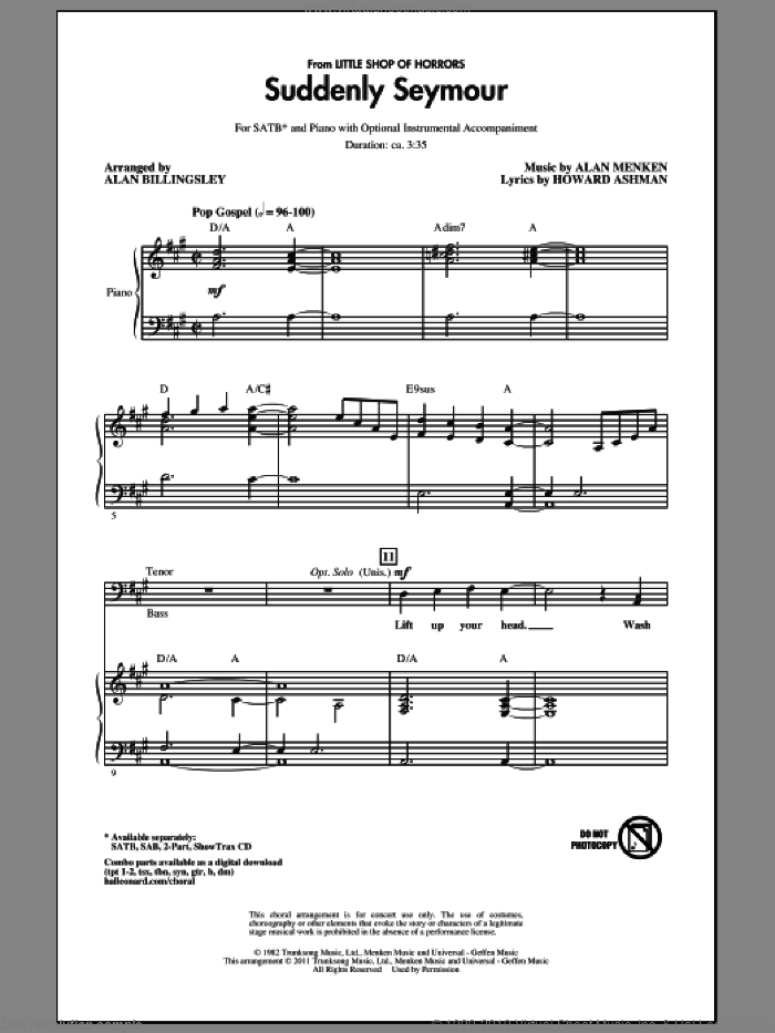 Suddenly Seymour (from Little Shop of Horrors) (arr. Alan Billingsley) sheet music for choir (SATB: soprano, alto, tenor, bass) by Alan Menken, Howard Ashman and Alan Billingsley, intermediate skill level