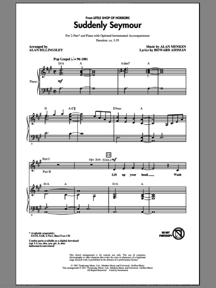 Suddenly Seymour sheet music for choir and piano (duets) by Alan Menken