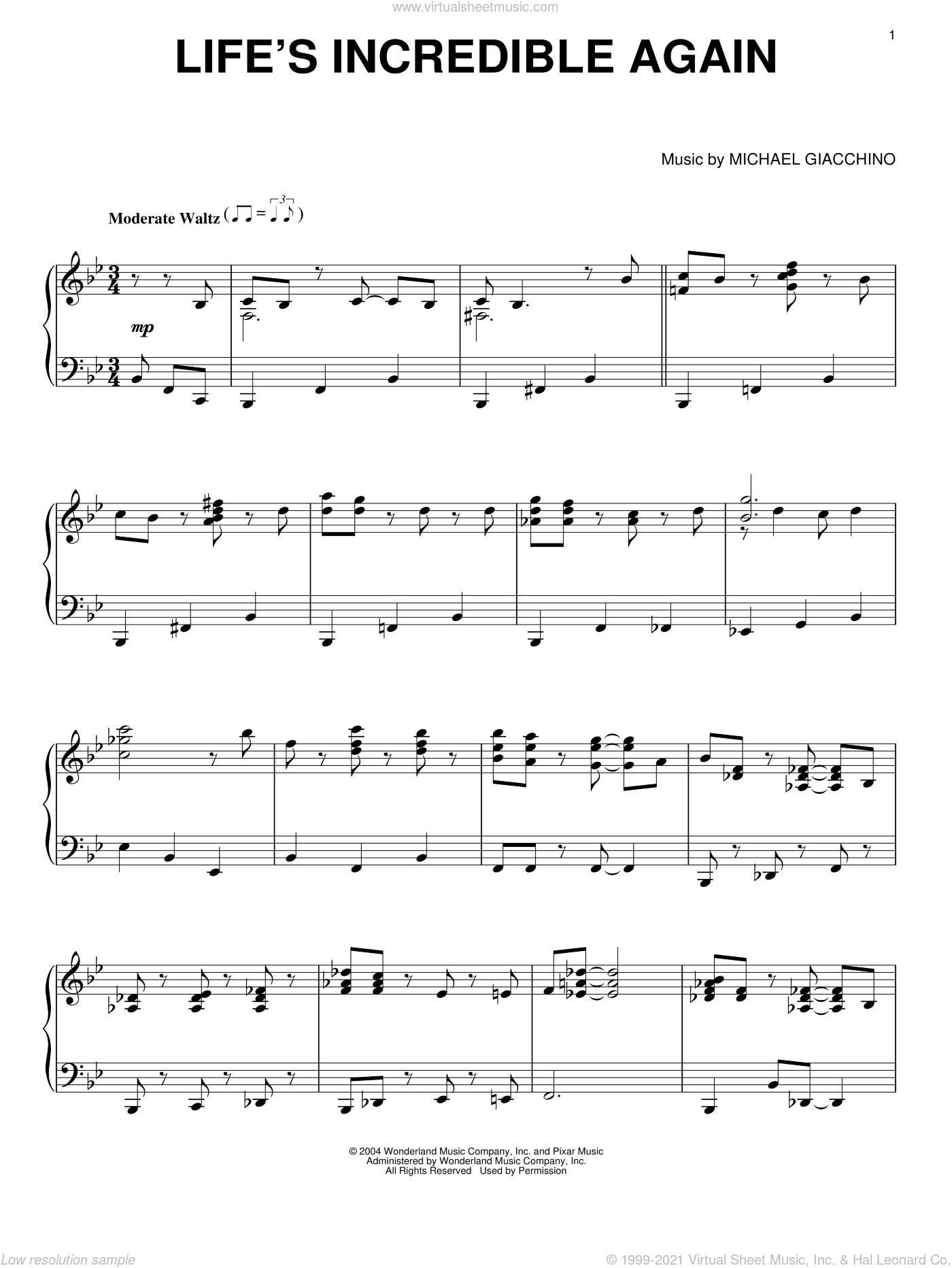 Life's Incredible Again sheet music for piano solo by Michael Giacchino. Score Image Preview.