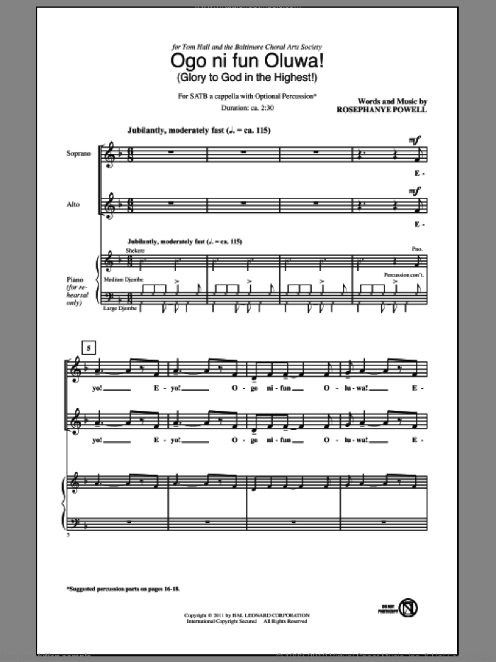 Ogo Ni Fun Oluwa! (Glory To God In The Highest!) sheet music for choir and piano (SATB) by Rosephanye Powell