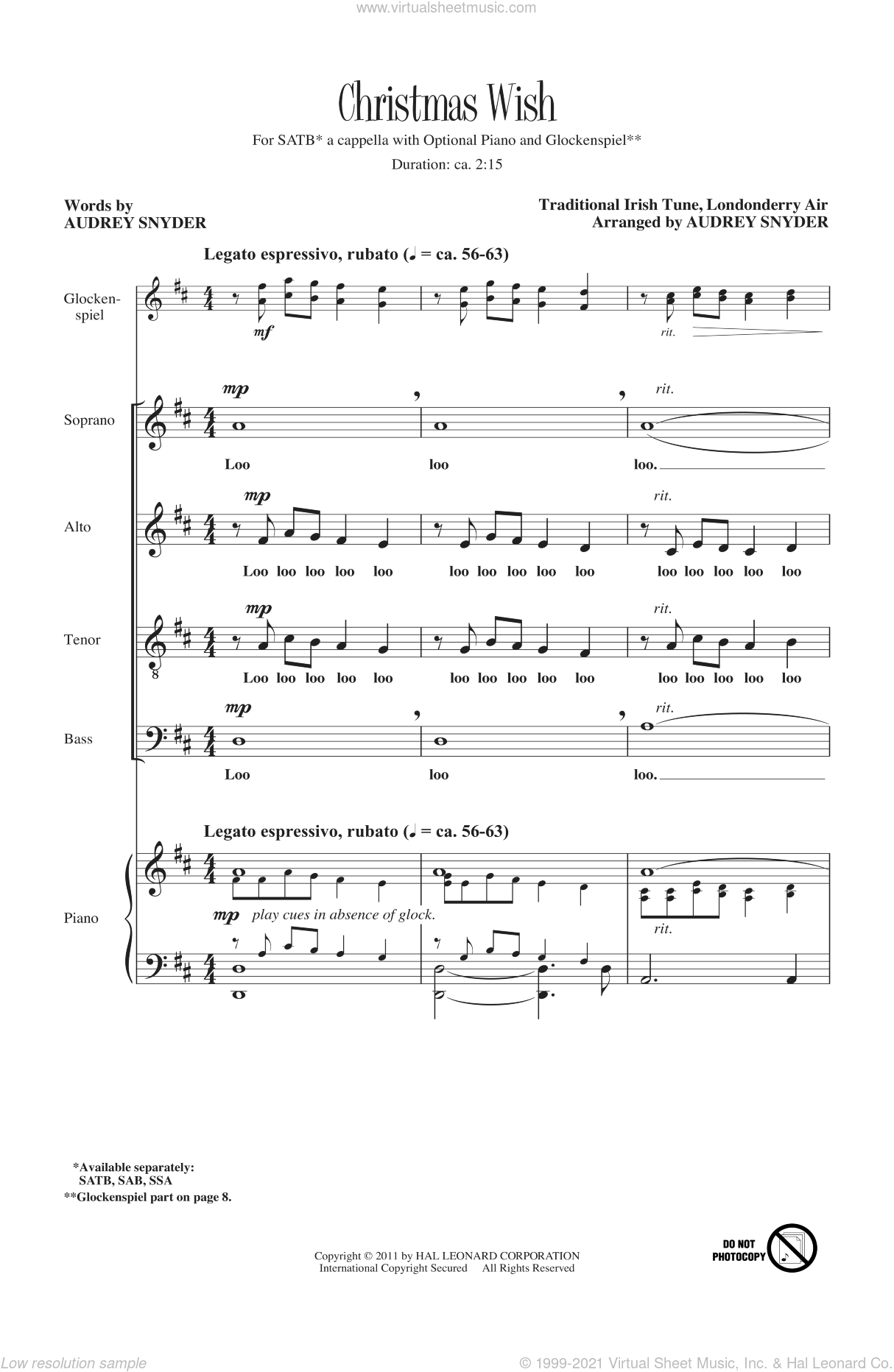 Christmas Wish sheet music for choir (SATB) by Audrey Snyder. Score Image Preview.