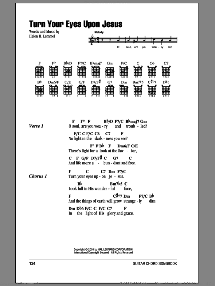 Turn Your Eyes Upon Jesus sheet music for guitar (chords) by Helen H. Lemmel