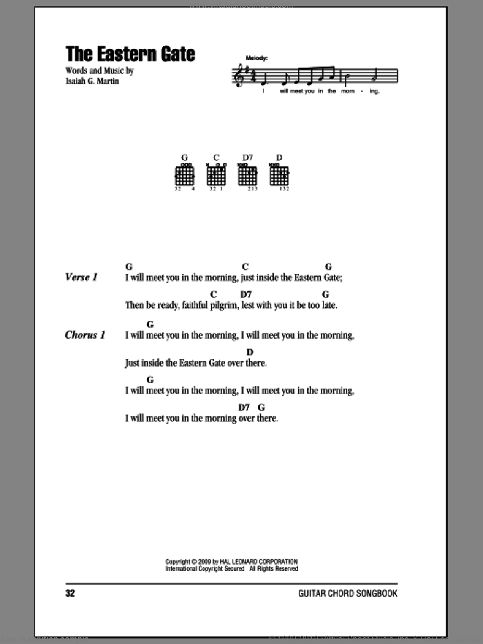 The Eastern Gate sheet music for guitar (chords) by Isaiah G. Martin. Score Image Preview.