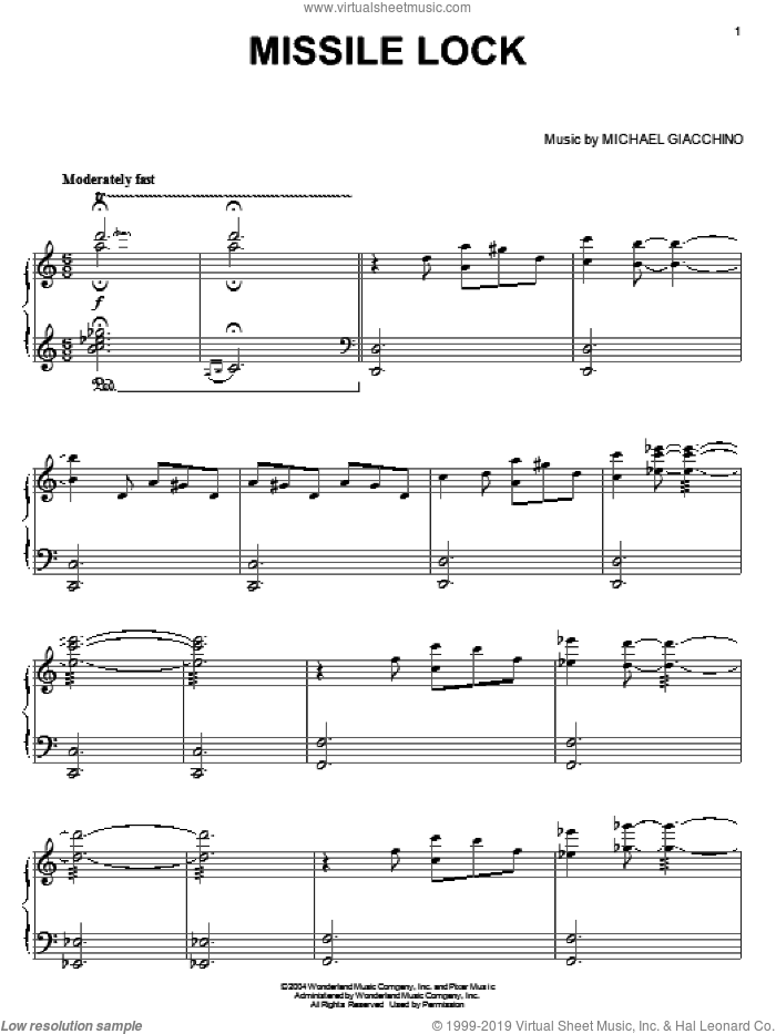 Missile Lock sheet music for piano solo by Michael Giacchino and The Incredibles (Movie), intermediate skill level