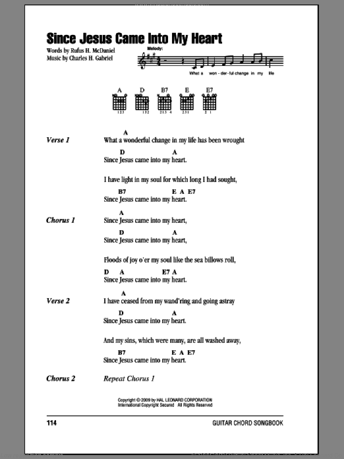 Since Jesus Came Into My Heart sheet music for guitar (chords) by Rufus H. McDaniel and Charles H. Gabriel, intermediate guitar (chords). Score Image Preview.