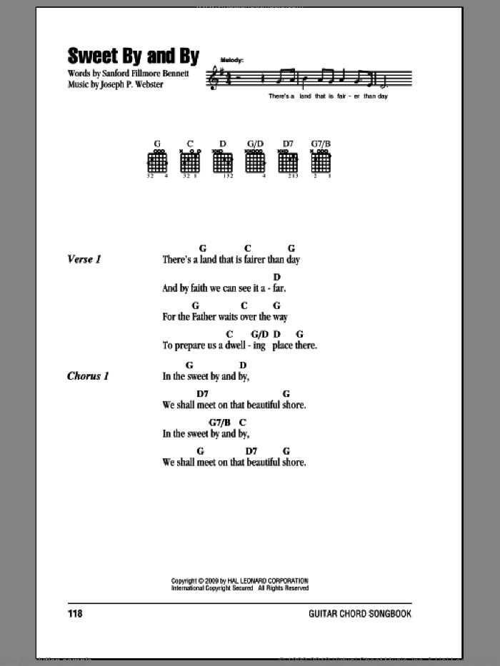 Sweet By And By sheet music for guitar (chords, lyrics, melody) by Joseph P. Webster