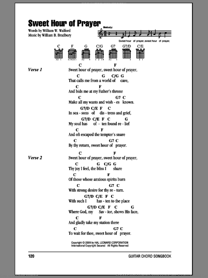 Sweet Hour Of Prayer sheet music for guitar (chords) by William W. Walford and William B. Bradbury, intermediate guitar (chords). Score Image Preview.