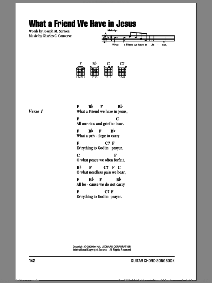 What A Friend We Have In Jesus sheet music for guitar (chords) by Charles C. Converse and Joseph M. Scriven. Score Image Preview.