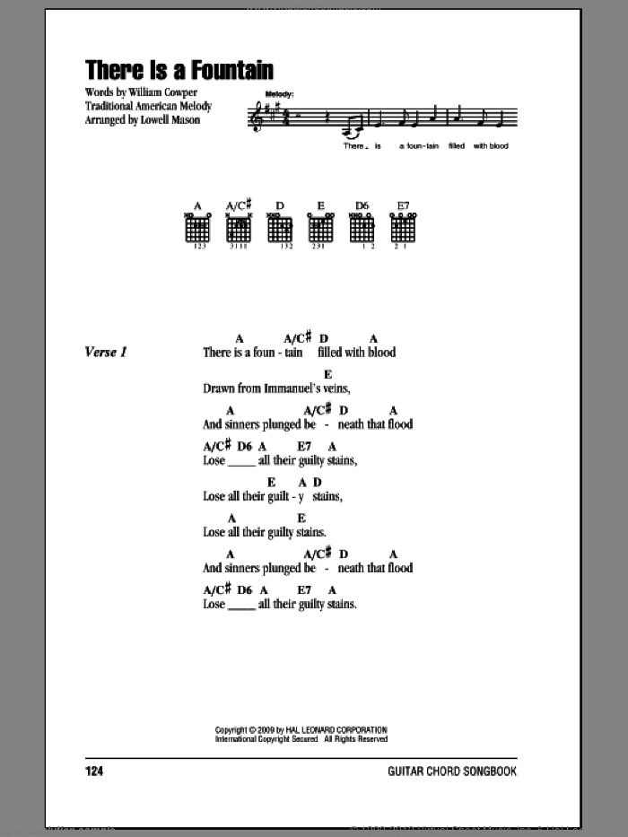 There Is A Fountain sheet music for guitar (chords) by William Cowper, Lowell Mason and Miscellaneous, intermediate skill level